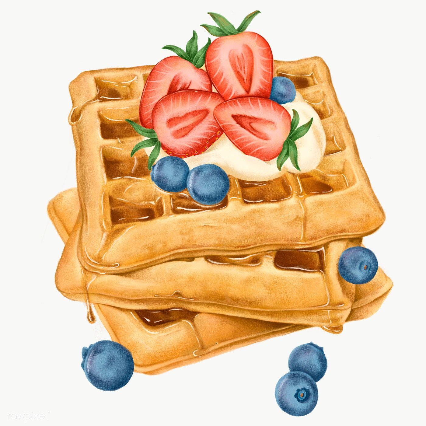 Download free png of Hand drawn sweet waffles tran