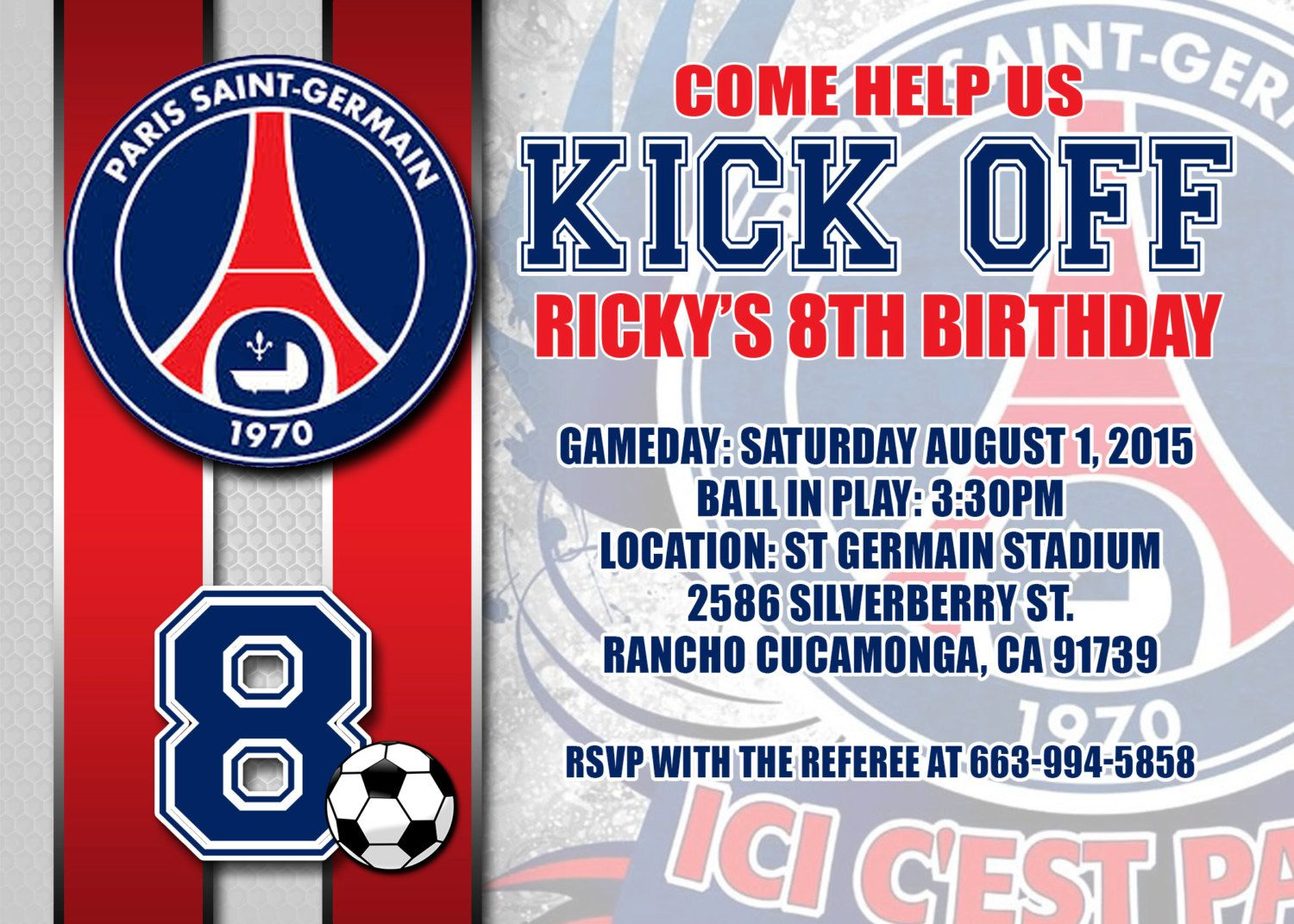 Paris Saint Germain FC Birthday Invitation, DIY Party Invitation, by ...
