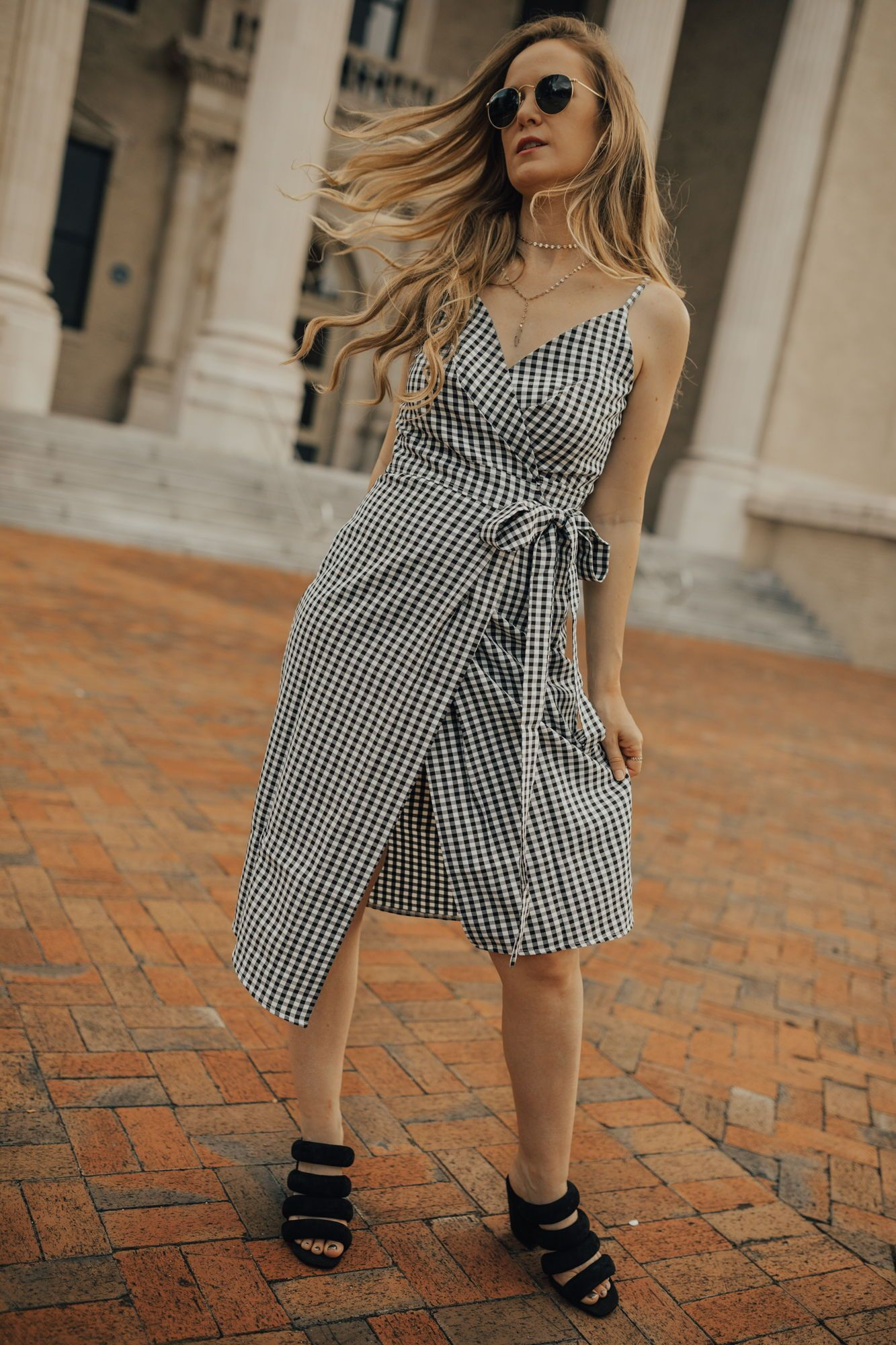 c46cb759581 Cute date night look with gingham wrap dress
