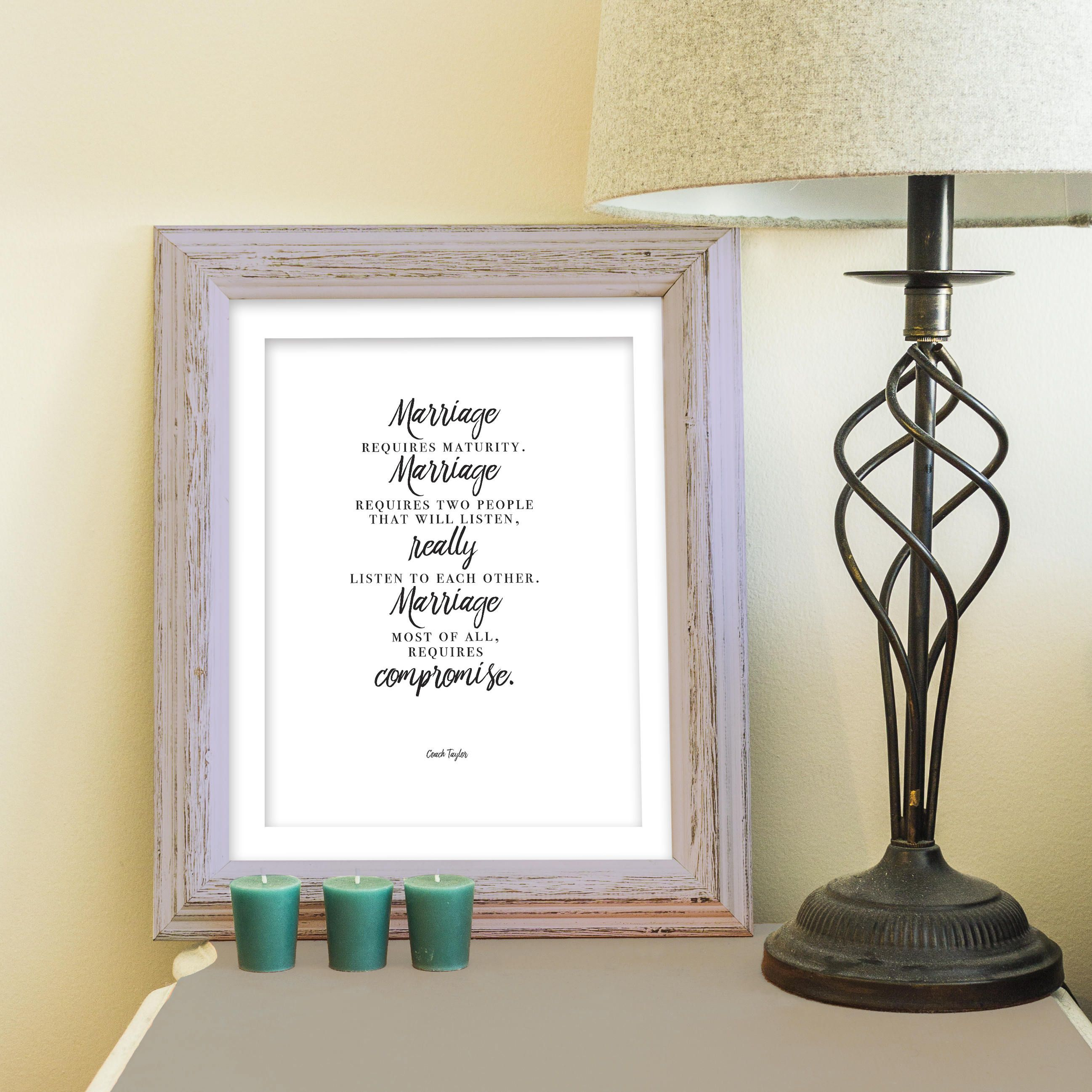 Friday Night Lights Print, Printable Friday Night Lights Wall Art, Marriage Quote  Art,