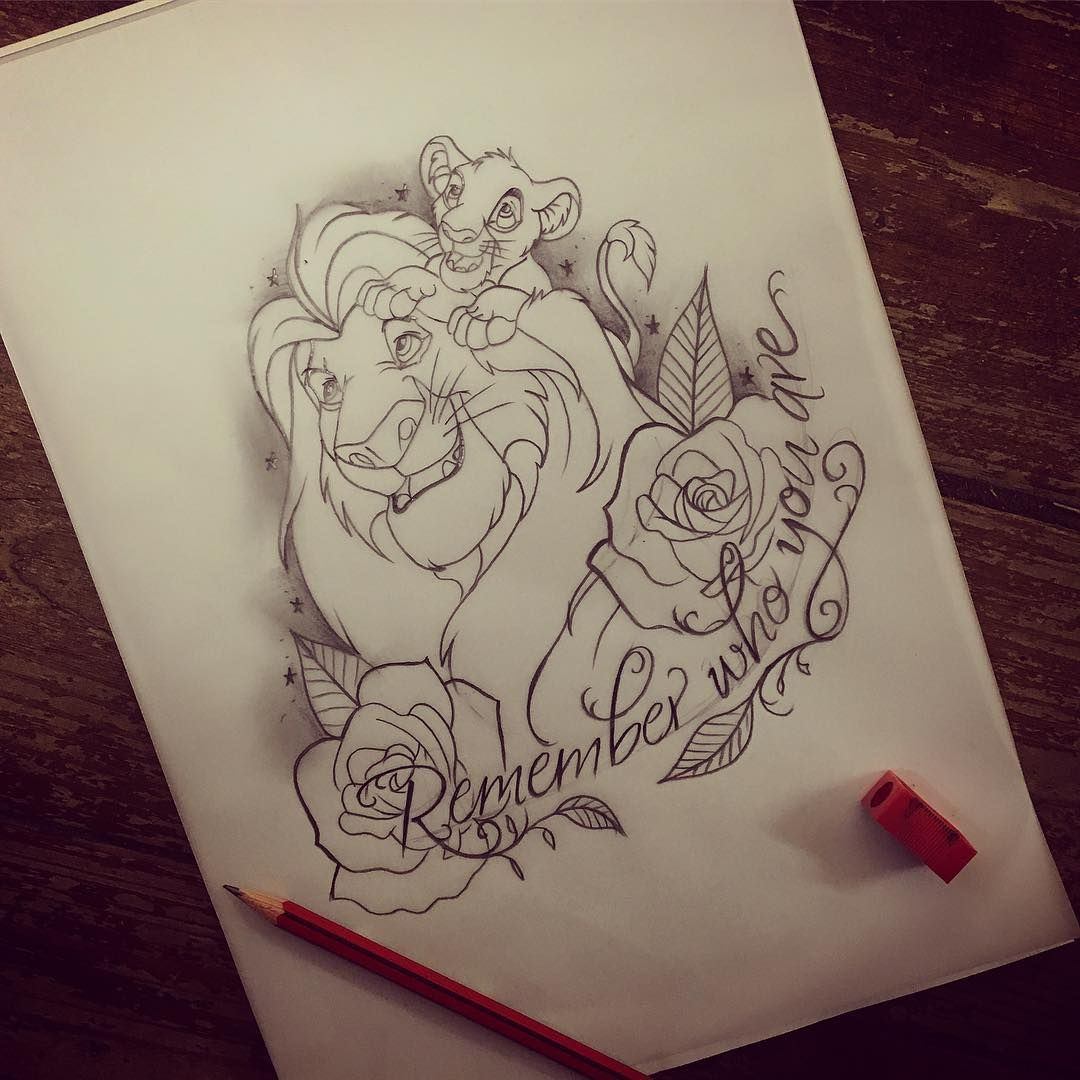 "Photo of Nikita Rogers 💜 on Instagram: """"Remember who you are"" lion king tattoo design! Available! PM for details 🦁👑#ladytattooer #lionking #thelionking #lionkingtattoo #simba…"""