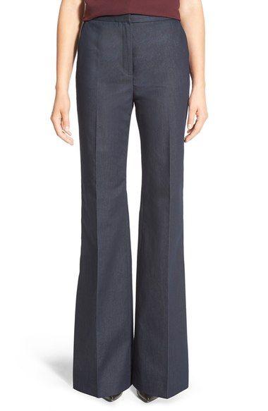 Halogen® High Waist Denim Flare Leg Trousers (Regular & Petite) available at #Nordstrom