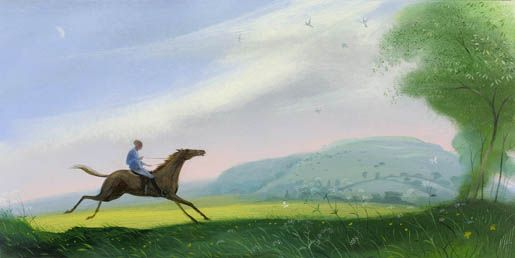 "The Bolting Horse by Hambledon Hill (small version) 10"" x 19"" Nicholas Hely Hutchinson"