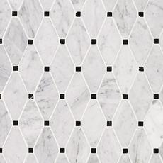 Carrara Marble Carrara Clipped Diamond Polished Marble Mosaic