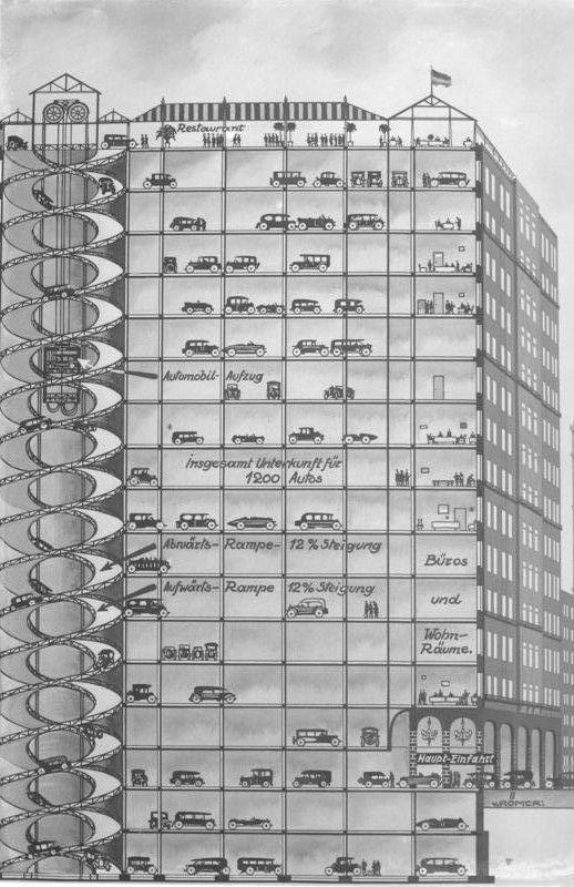 1929 Proposed Multi Storey Car Park Parking Design Car Parking Architectural Section