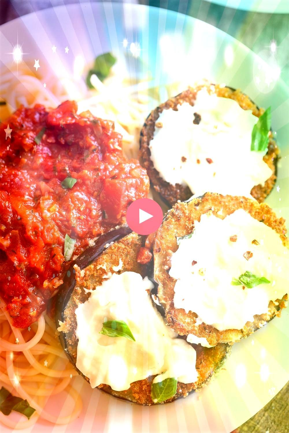 Eggplant Parmesan Recipe Breaded Eggplant baked and served over spaghetti and chunky marinara then topped with cashew mozzarella cream Fancy and so Delicious Nutfree opti...