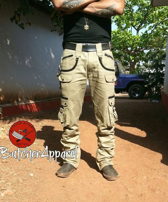 Saw- Men's cargo trousers, biker trousers, steampunk, psytrance goa pants