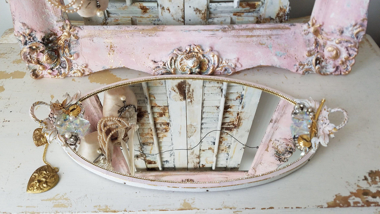 Mirrored Tray Ornate Tray Shabby Chic Vintage Vanity Tray Perfume Tray Dresser Tray Jewelry Holder Pink Distressed In 2020 Vintage Vanity Tray Perfume Tray Shabby Chic