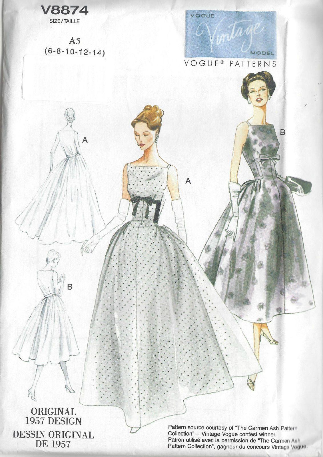 Vintage Vogue 8874 - 1950s Dress Sewing Pattern   Moda vintage ...