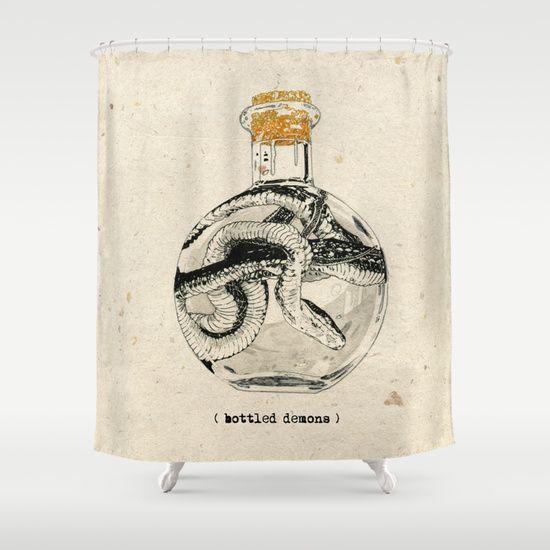 Bottled+Demons+Shower+Curtain+by+NVM+Illustration+-+$68.00