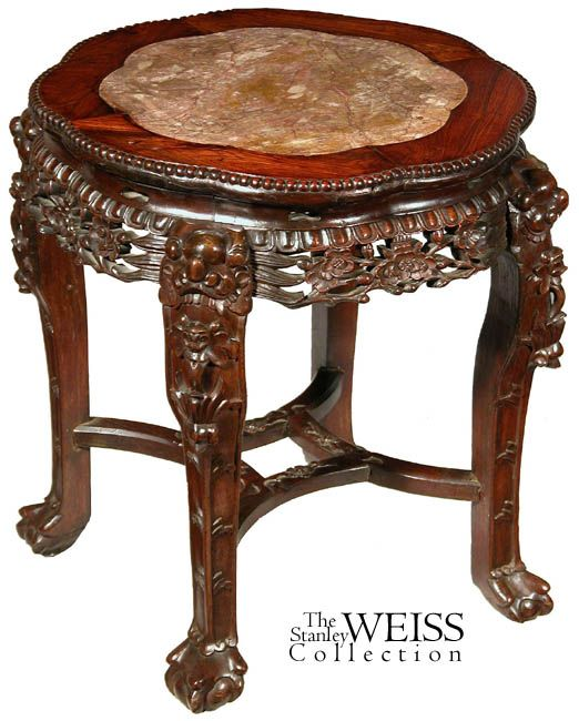 Swc Large Export Chinese Side Table With Inset Marble Side Table Antique Chinese Furniture Table
