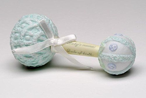 5 Inch Baby Boys Keepsake Blue with White Ribbon Mark able Rattle * Want additional info? Click on the image.