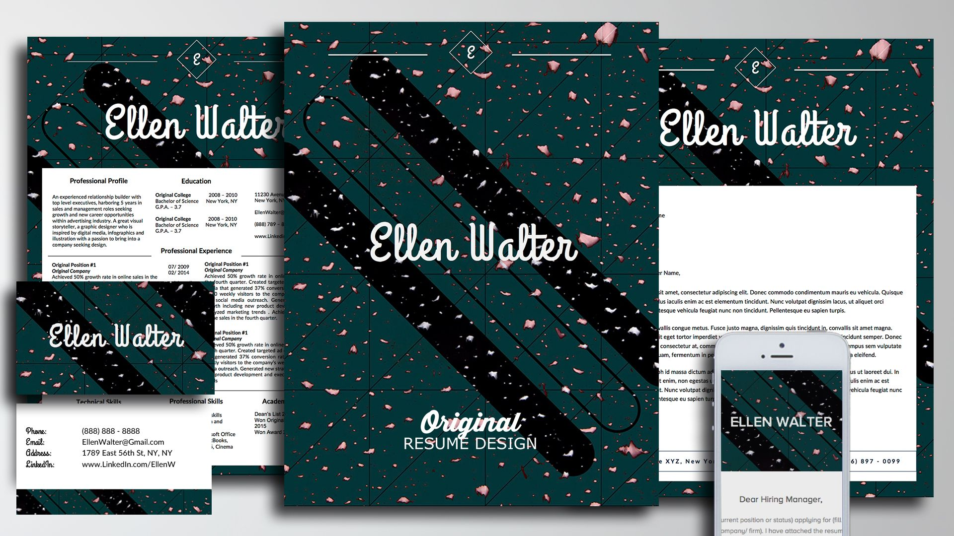 The personal branding kit for job seekers in ellen walter design the personal branding kit for job seekers in ellen walter design includes resume template cover letter template business card template email template reheart Choice Image