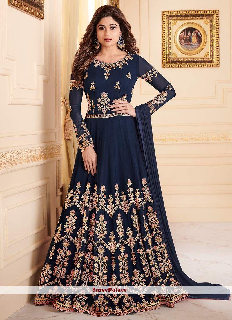 d45ede5e88 Buy bollywood actress salwar kameez online. Pleasing embroidered, resham  and zari Shamita Shetty blue floor length anarkali suit.