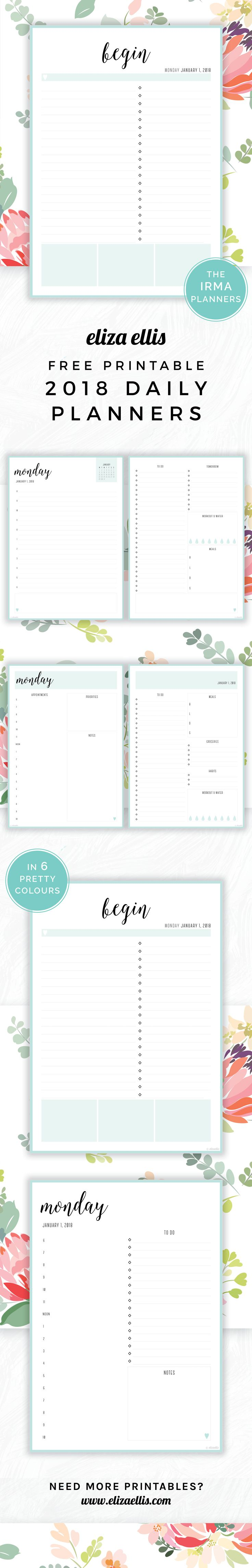 free printable 2018 irma daily planners in sea eliza ellis awesome 2018 daily planners and diaries that are absolutely free print to a4 or a5