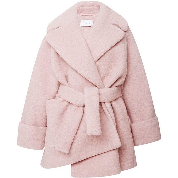 Carven Pink Wool Manteau Court Coat (14 320 ZAR) ❤ liked on Polyvore  featuring