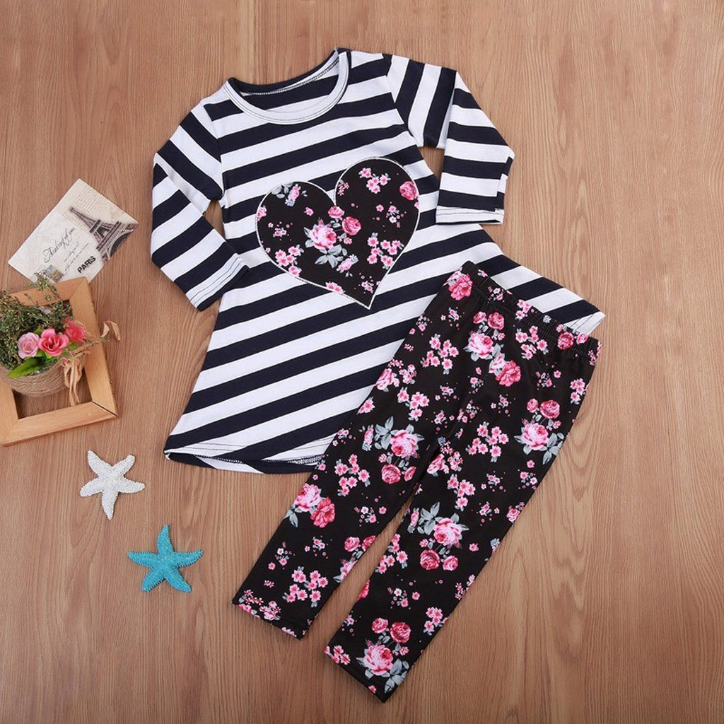 Bow Pants Adorable Pattern Shirt Top 2Pcs Clothes Set Residen 2-6Years Girls Outfits