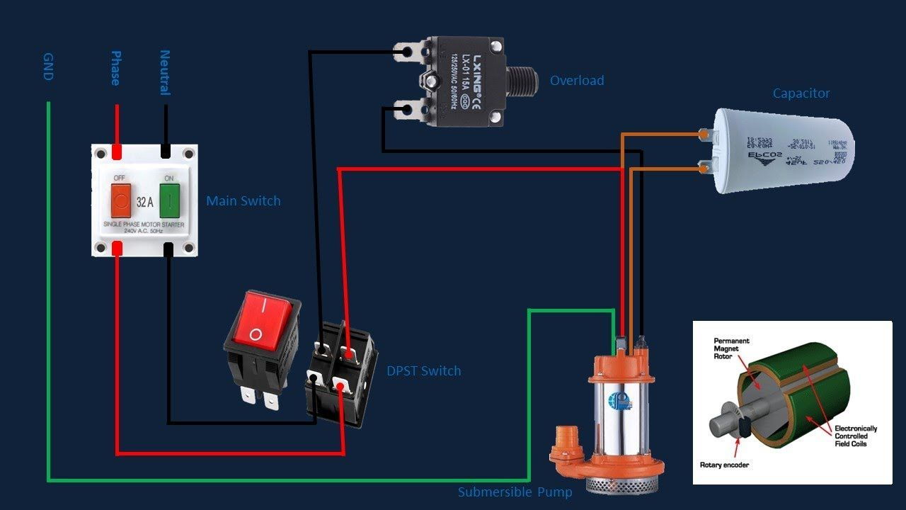 Submersible Motor Control Box Wiring Single Phase Water Pump Water P Submersible Water Pumps Inductors