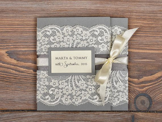 Lace Wedding Invitation With Pocket And Ribbon