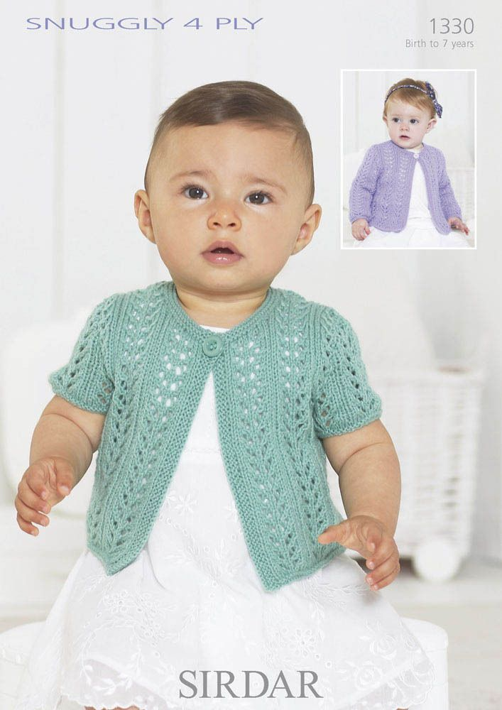 f74190db5415 One Button Girl Cardigan in Snuggly 4 Ply - 1330