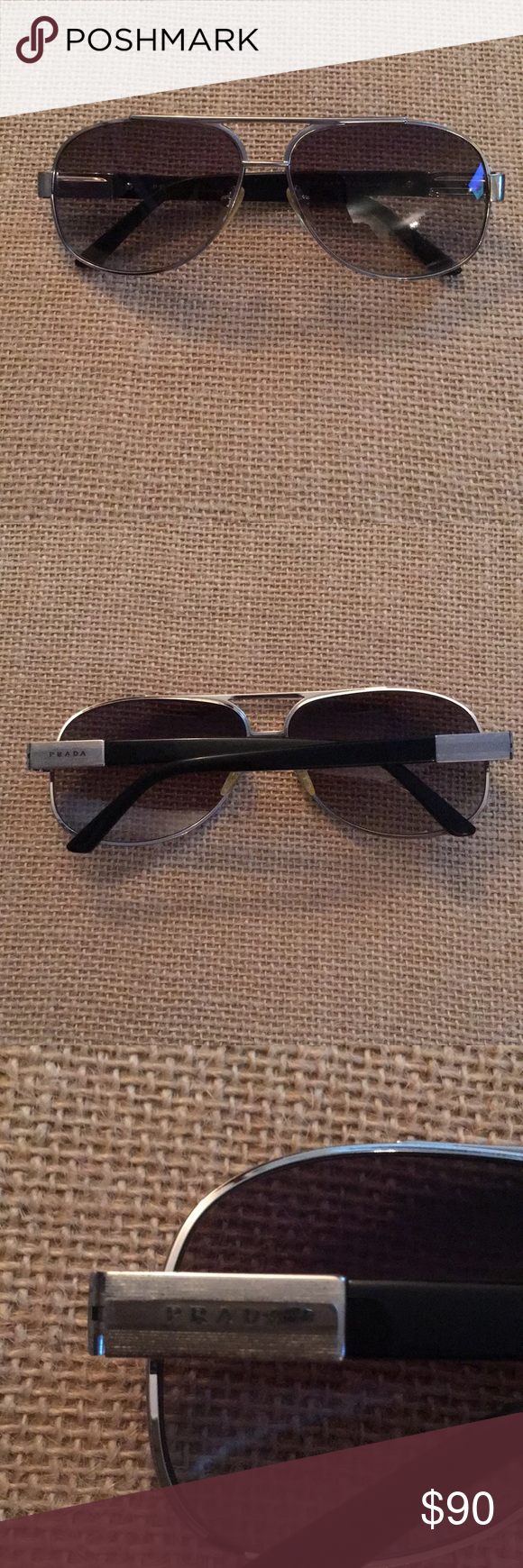 9f4b7714f144 Men s Prada Sunglasses Men s Prada silver   black aviators. Prada  Accessories Glasses