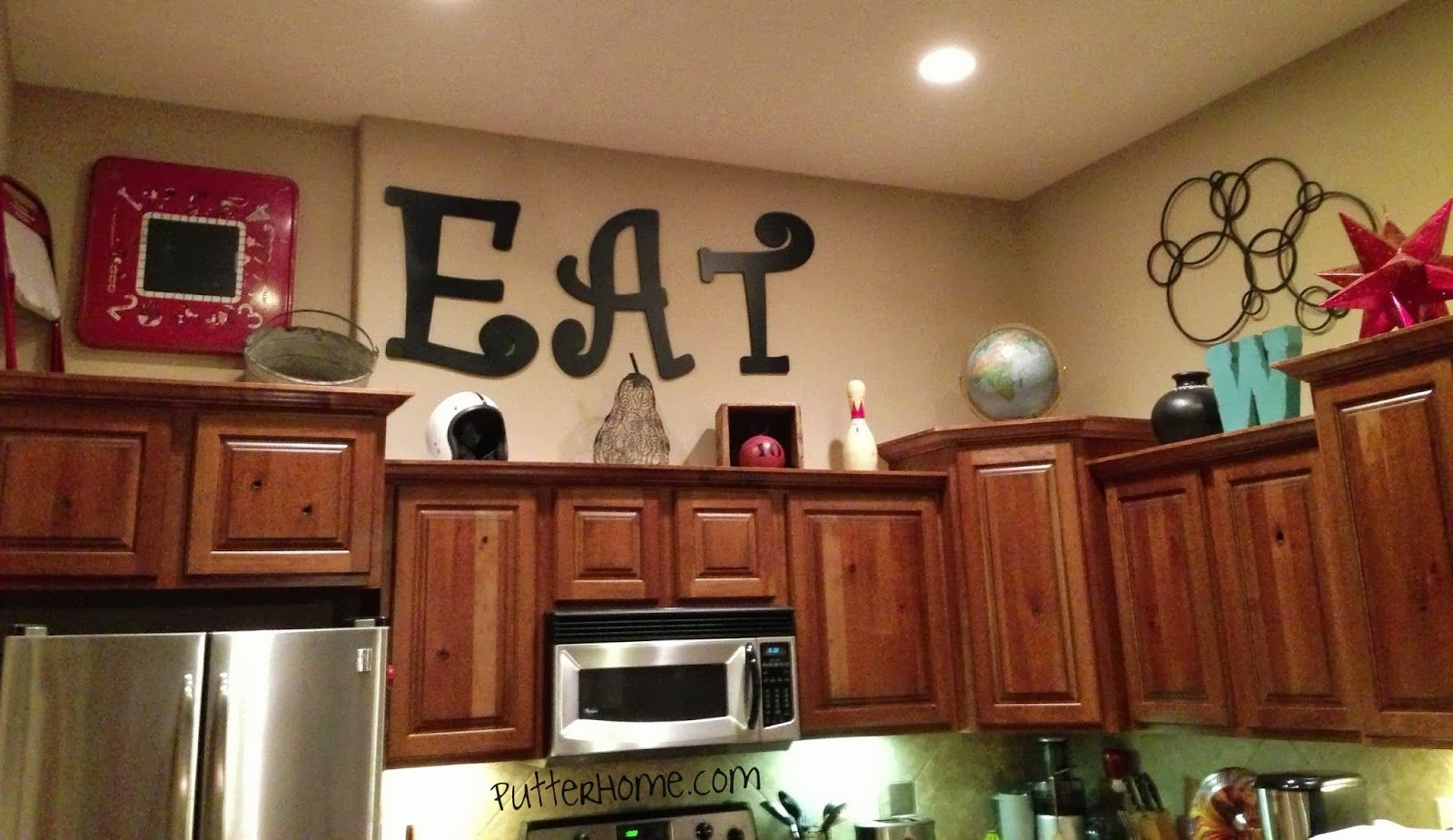 Putter Home Above The Cabinets   Above kitchen cabinets, Diy ...
