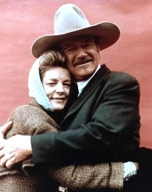 JOHN WAYNE & Lauren Bacall were in two films together, Blood Alley (1955) & The Shootist (1976).