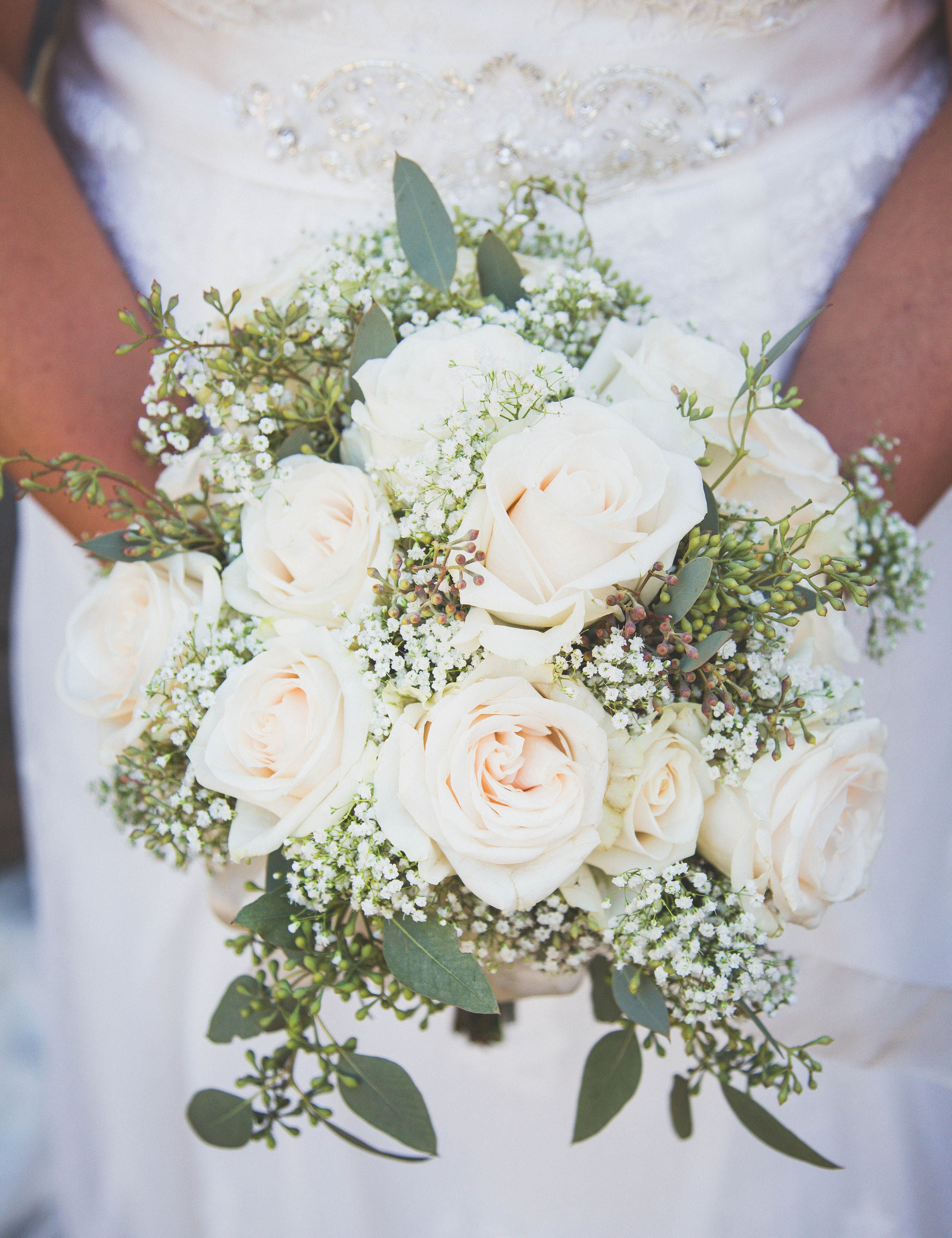 White Roses And Assorted Greenery From Sam S Club Wedding Flowers Sams Club Wedding Flowers Wedding Boquet