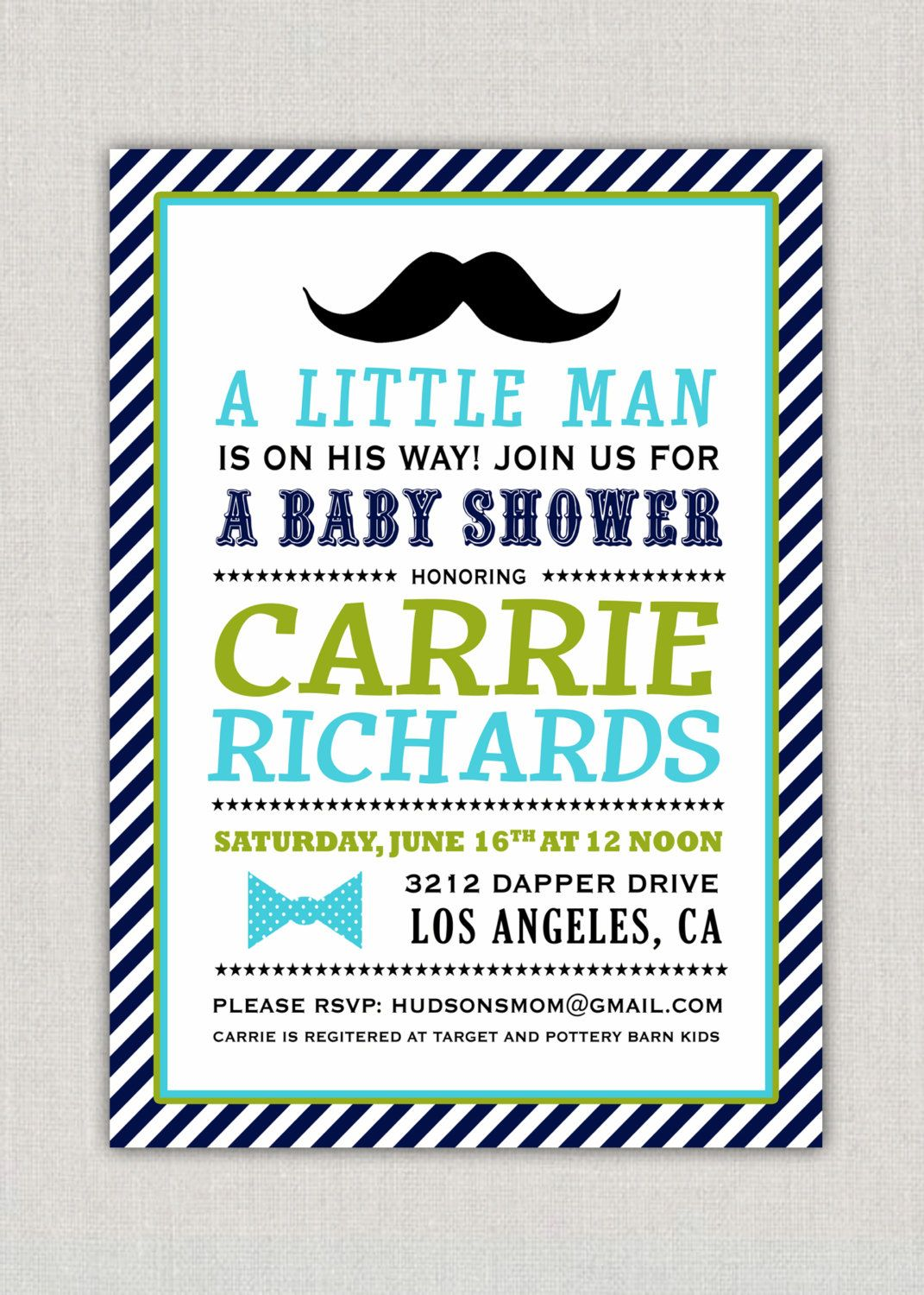 Little Man Baby Shower Party Invitation by announcingyou on Etsy ...