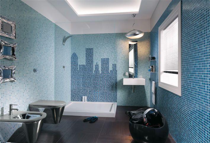 22 Badezimmer mosaikfliesen blau