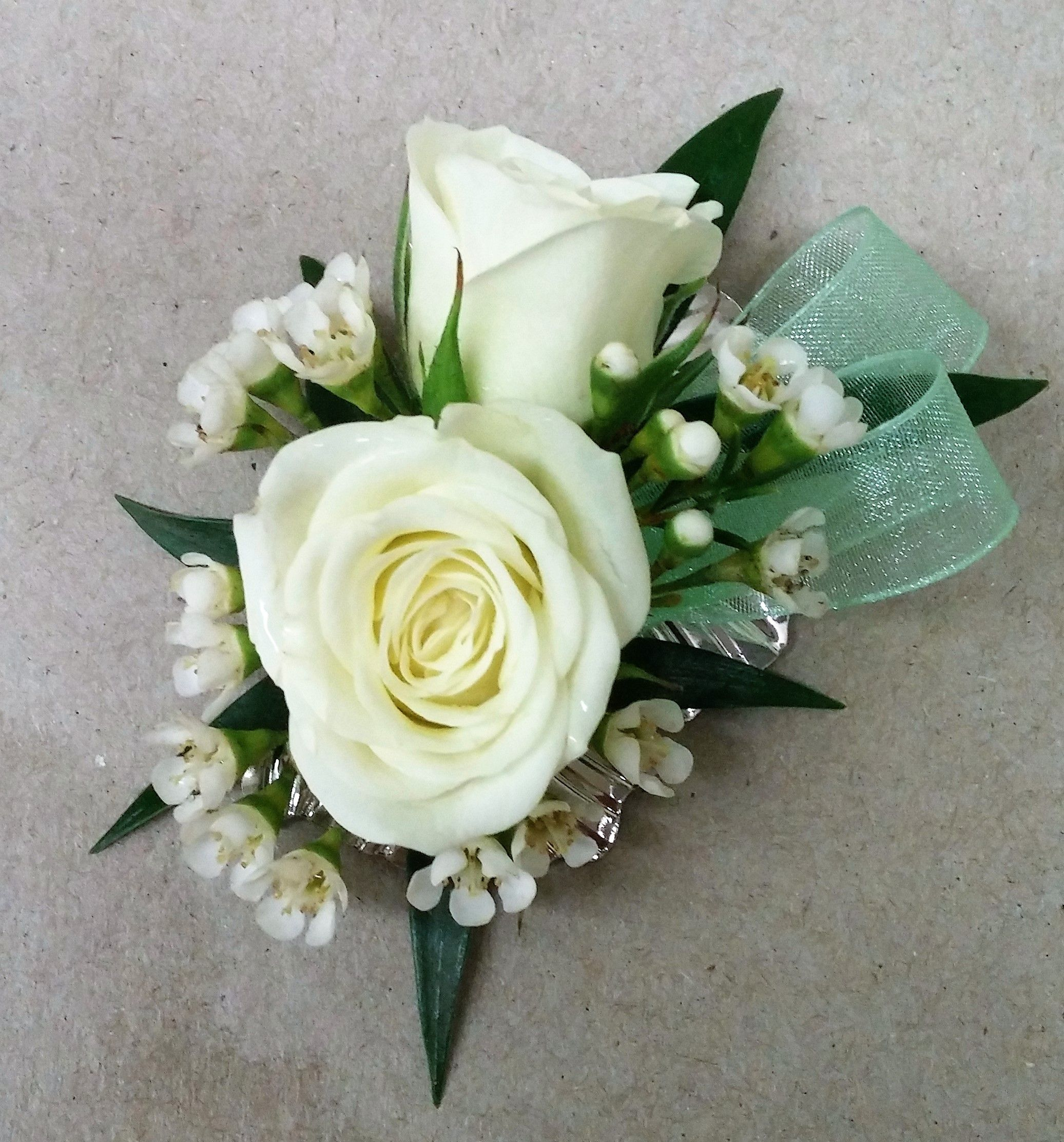 rose boutonniere on silver magnet backing great for prom wedeliverthewow - Garden Rose Boutonniere