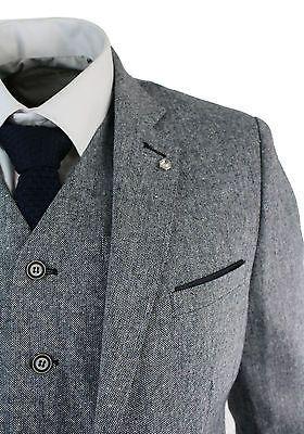 Mens Light Grey 3 Piece Tweed Suit Herringbone Wool Vintage Retro Peaky Blinders