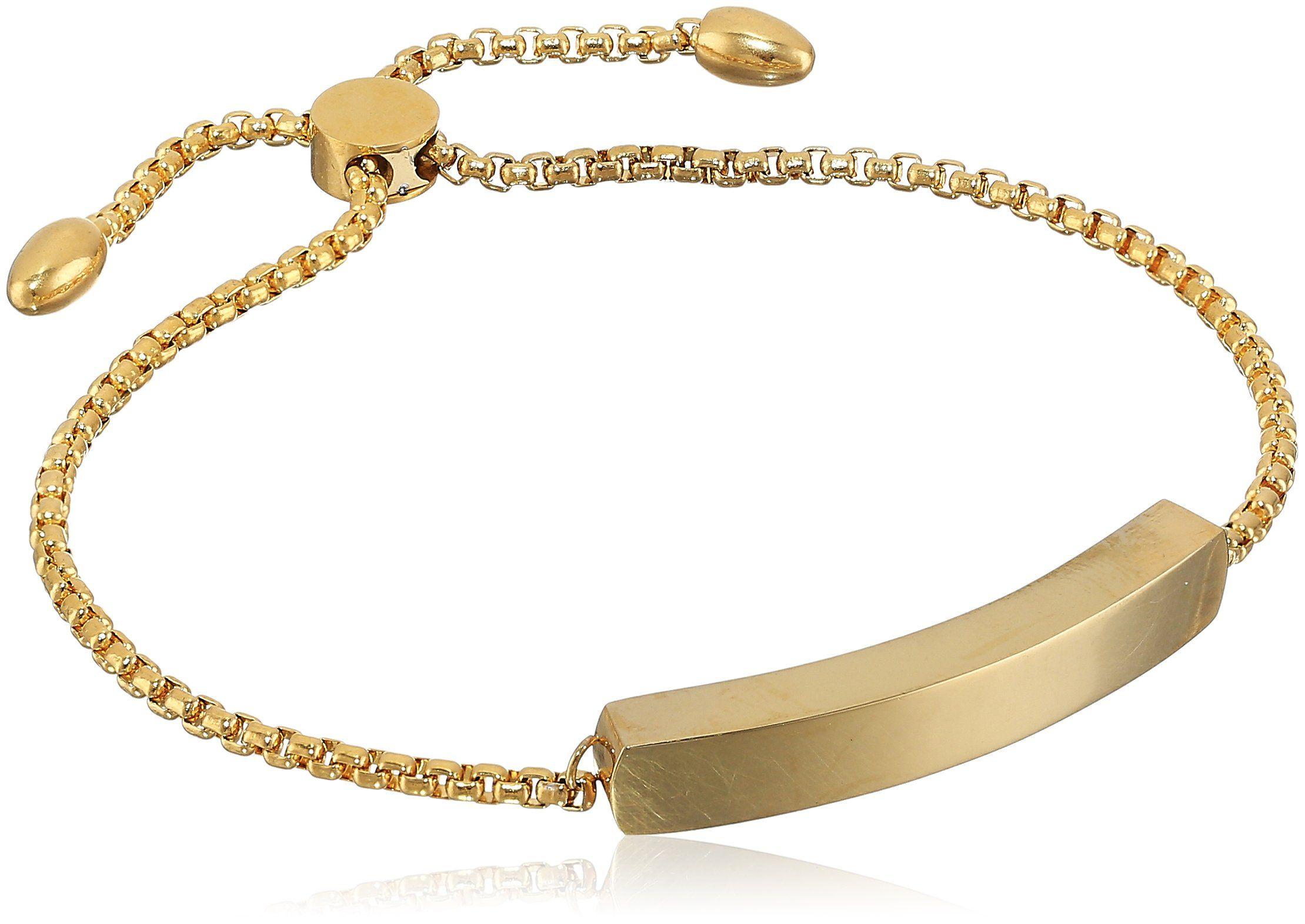 K gold plated stainless steel adjustable bar bracelet