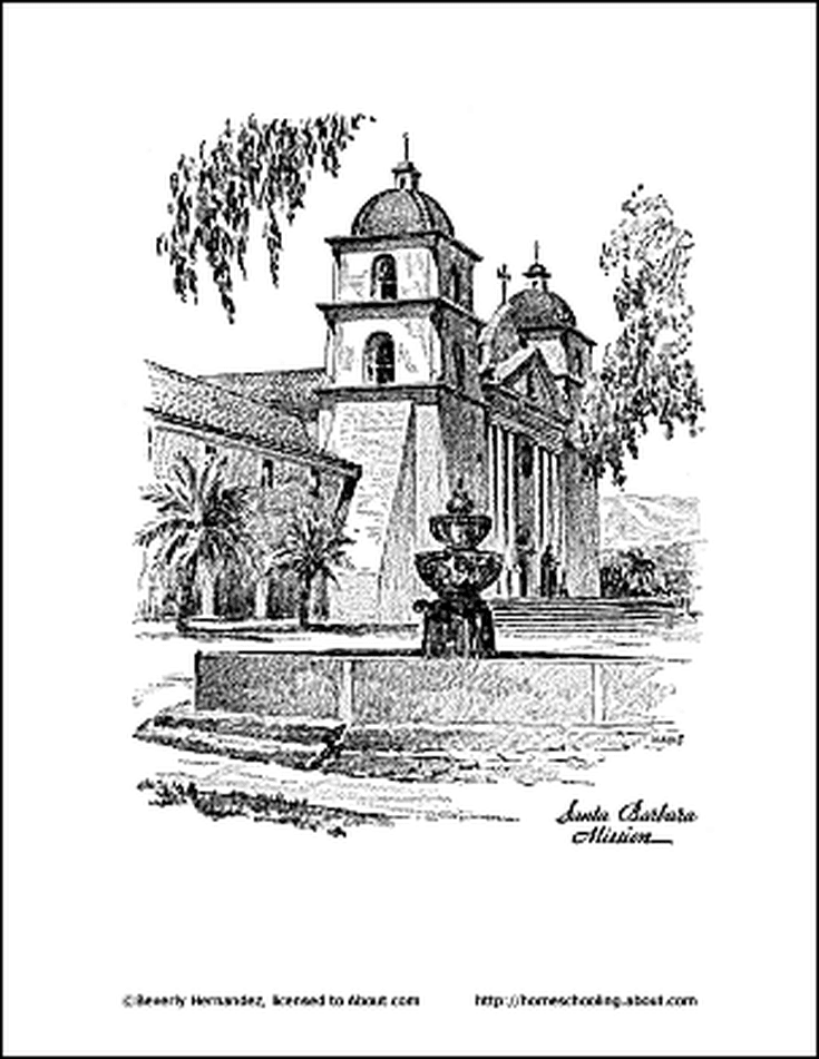 learn about california with free printable workheets california coloring page california mission santa barbara