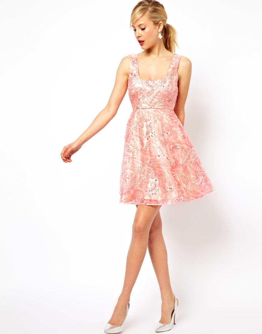 Dress for wedding engagement party  ASOS Pink Flower Embellished Skater Dress  Clothing  Pinterest