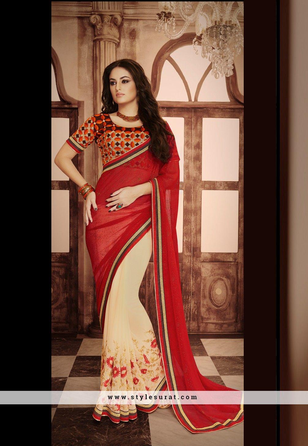Chiffon Fabric Red N Cream Color Designer Party Wear Saree-3518