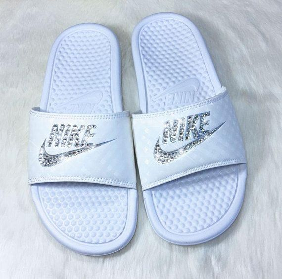 Custom made to order Nike slides with a touch of sparkle.  Made with  authentic Swarovski crystals.  Choose color stone   slide 66c9c2b1f0