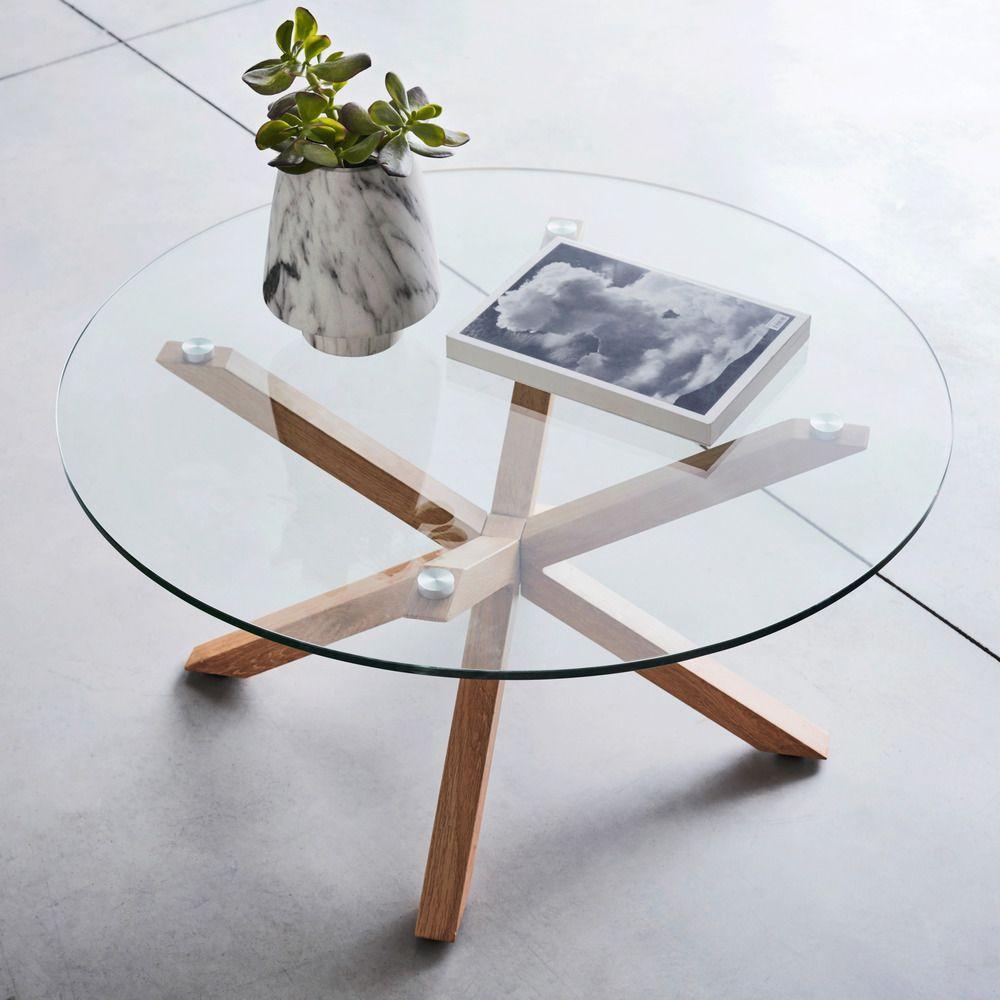 Table Basse Ronde En Verre Et Piétement Métal Effet Bois