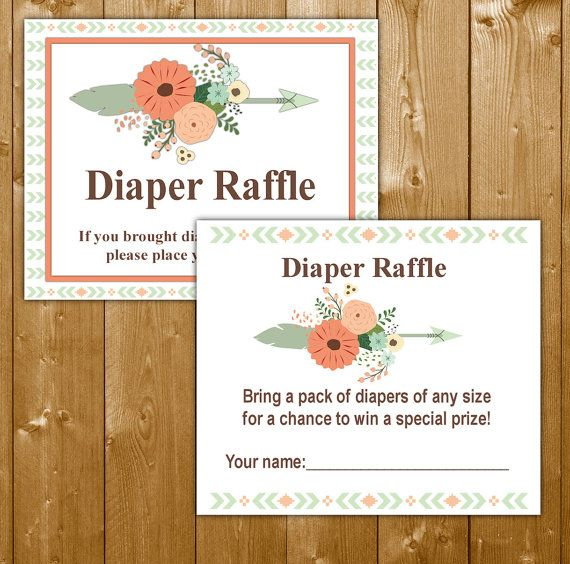 Tribal Diaper Raffle Baby Shower Invitation Insert Boy, Baby Shower Diaper Raffle, Boy Baby Shower, TR003B, Instant Download