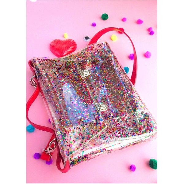 Sequins bag confetti bag messenger transparent satchel 90's glitter... (373 PLN) ❤ liked on Polyvore featuring bags, handbags, sequin evening bag, messenger bag, satchel messenger bag, glitter messenger bag and satchel hand bags
