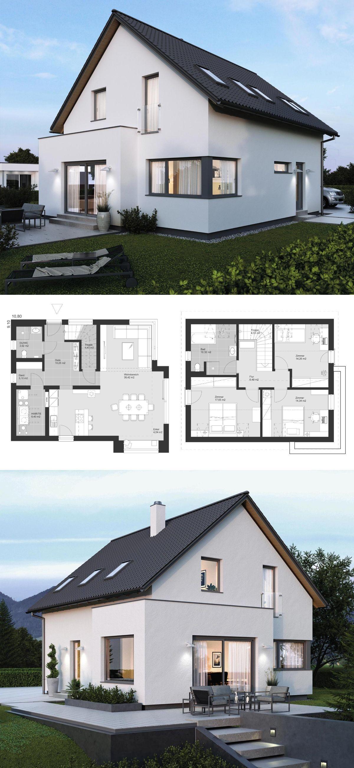 Satteldach haus modern mit erker anbau 4 zimmer for Einfamilienhaus bauen ideen