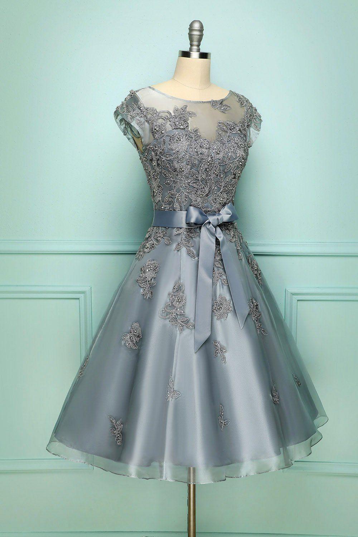Grey Vintage Short Prom Dress Dresses Homecoming Dresses White Lace Midi Dress [ 1500 x 1000 Pixel ]