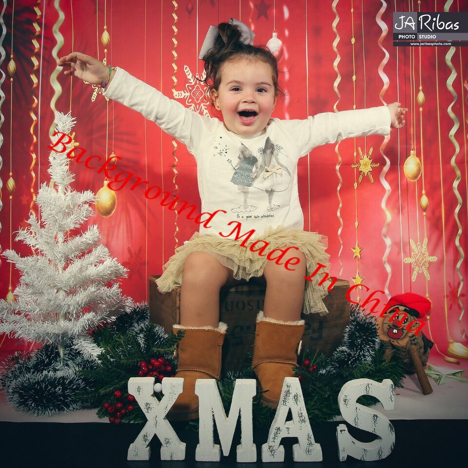 Colorful Christmas Background For Kids.Christmas Red Photography Background Digital Printed Fairy