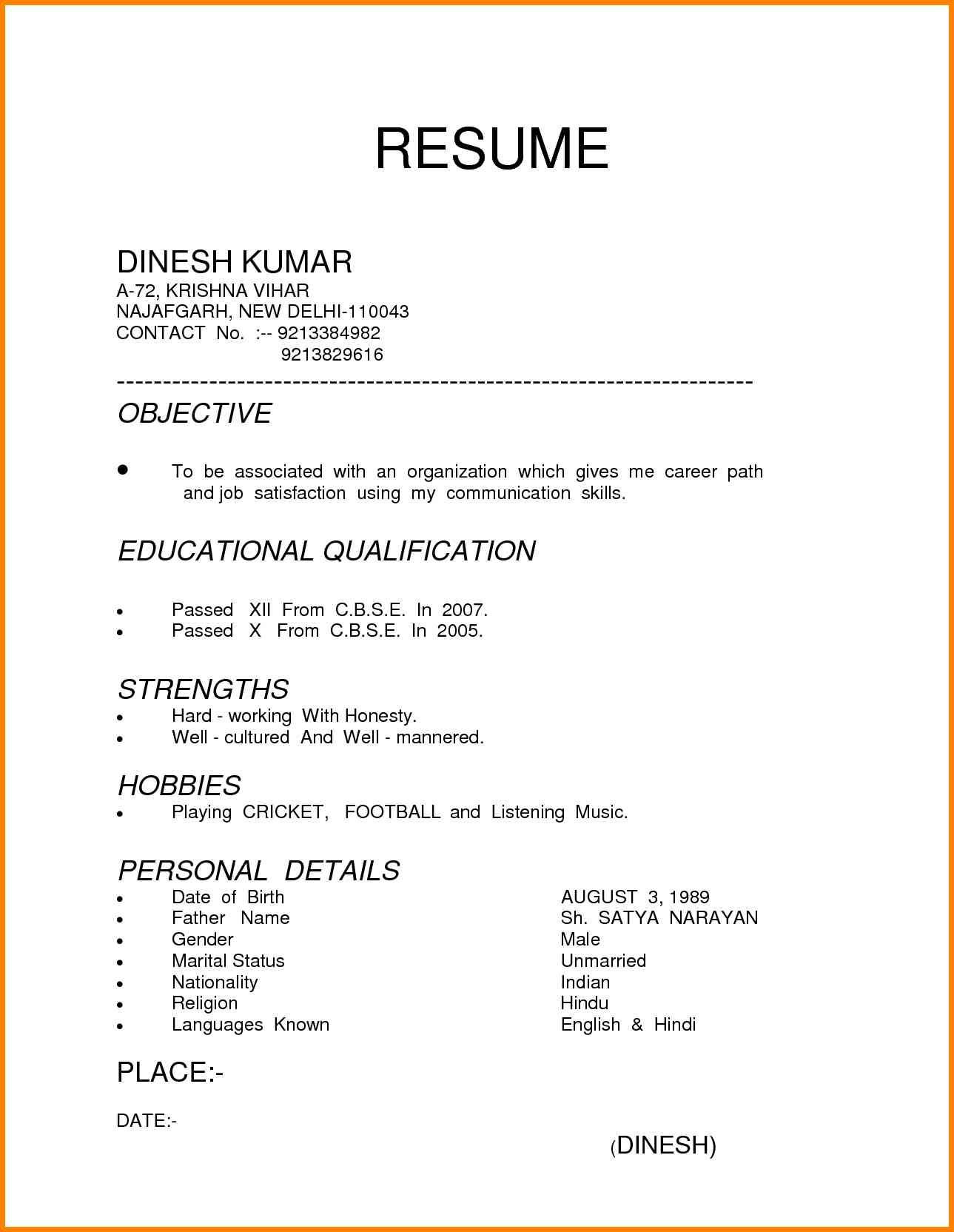 Resume Format Parlo Buenacocina in 2020 (With images