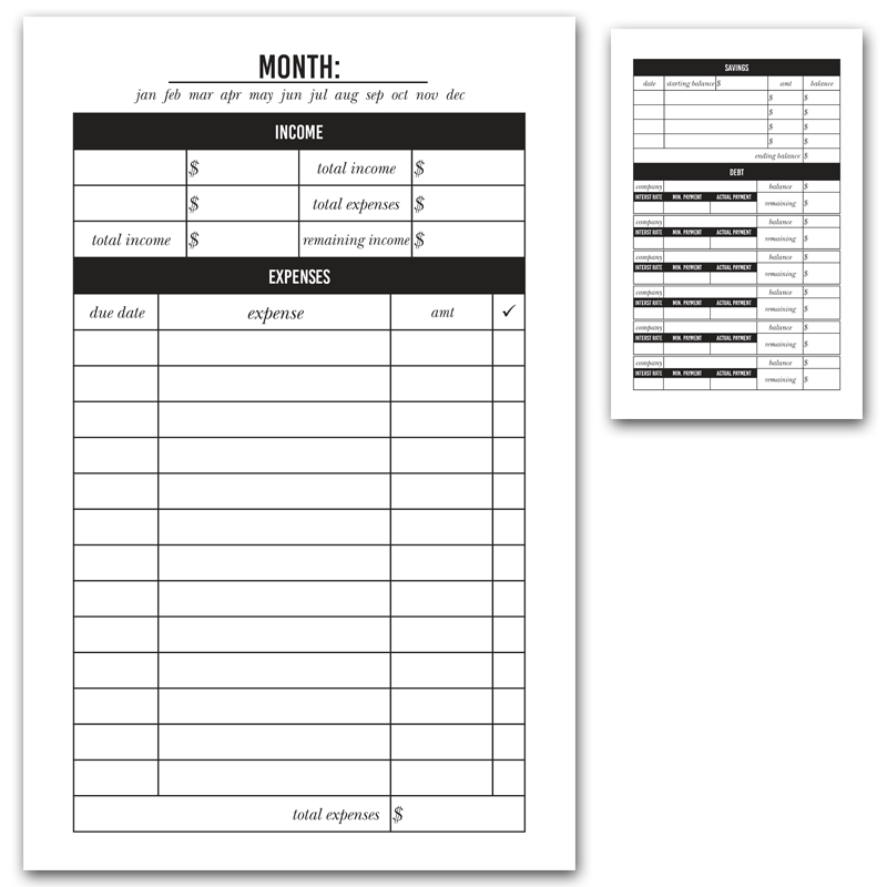 Monthly Budget Printable Insert Monthly budget printable