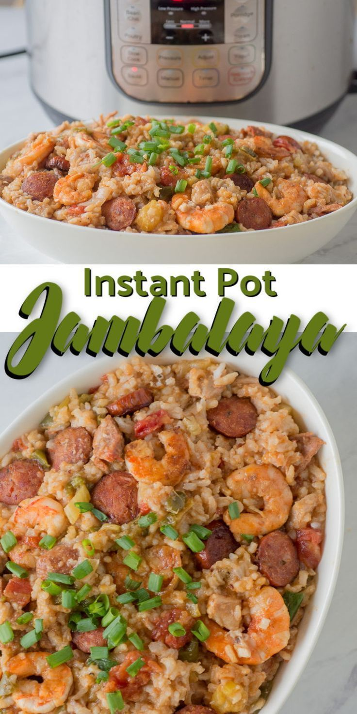 This Instant Pot Jambalaya Recipe Is A Cajun Inspired One Dish Recipe With Shrimp And Jambalaya Recipe Instant Pot Jambalaya Recipe Instant Pot Dinner Recipes