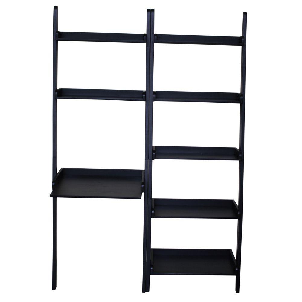 Black solid wood shelf desk with shelf unit overstock