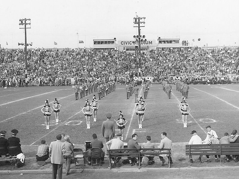 Halftime show at the old civic stadium with