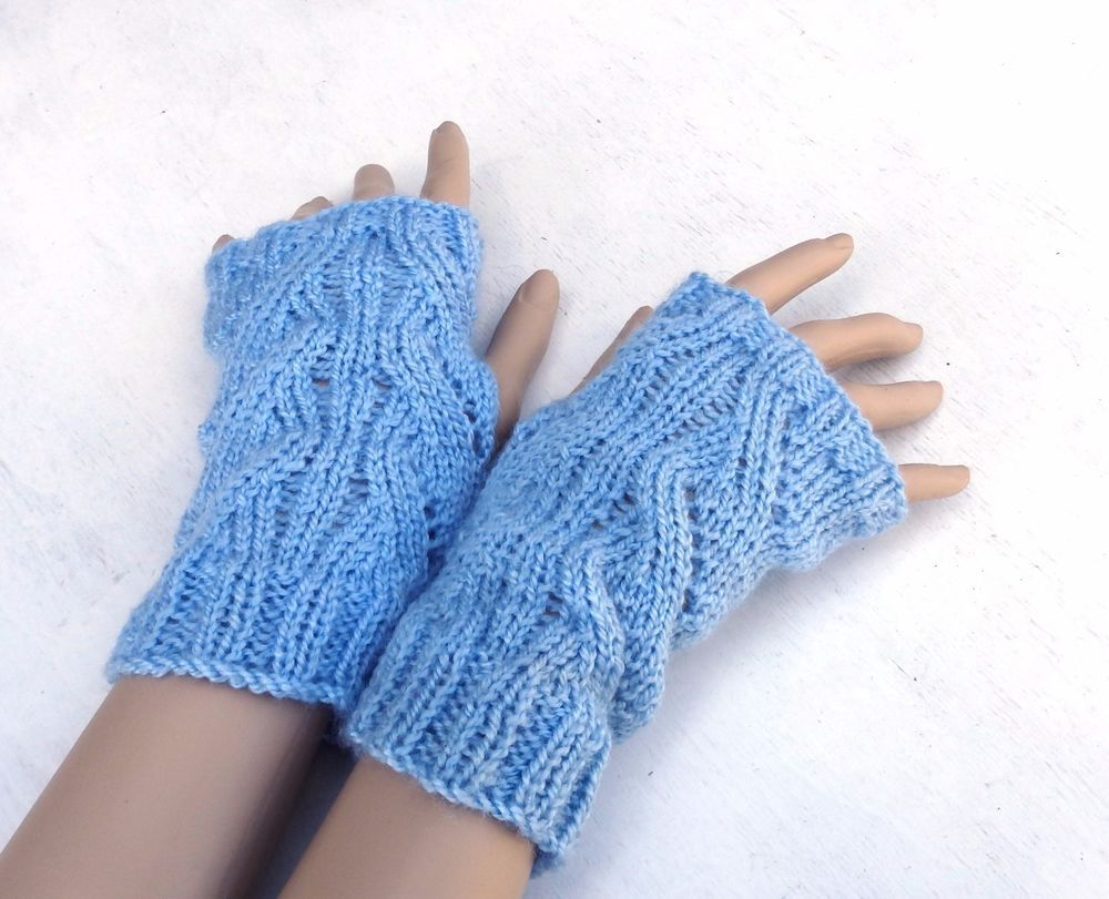 Knitted fingerless gloves knit arm warmers light blue mittens knitted fingerless gloves knit arm warmers light blue mittens hand warmers bankloansurffo Choice Image