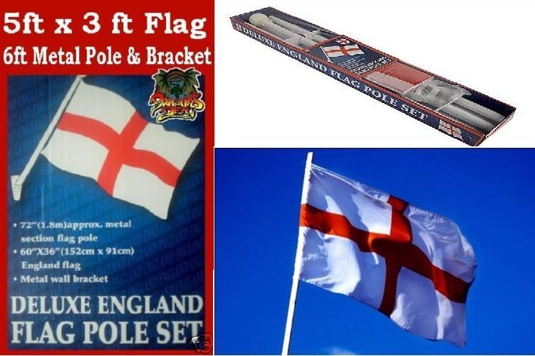 England Flag 6ft Pole 72 White 3 Section Rugby World Cup Football St George England Flag Rugby World Cup St George